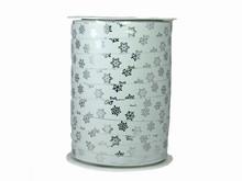 r971 Ruban bolduc flocons de neige blanc et argent métallique