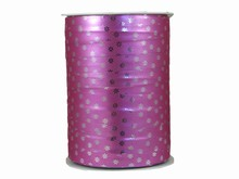 r973 Ruban bolduc motif floral rose métallique