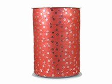 r974 Bolduc Ribbon Floral Motif Metallic Coral Red