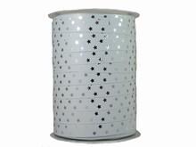 r975 Ruban bolduc étoiles argent sur blanc métallique
