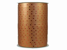 r976 Bolduc Curling Ribbon Bronze Stars with Red Metallic Tint