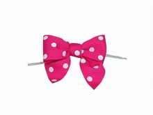 bow24 Bright Pink Polkadot Bow Twist Ties