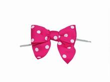 bow24 Boucles roses à pois sur attaches