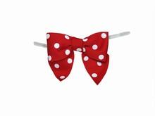 bow25 Boucles rouges à pois sur attaches