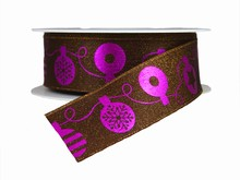 r712 Purple and Brown Christmas Ornaments Ribbon