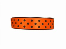 RB83 Orange Ribbon with Brown Polkadots