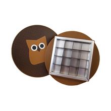 HOP604 Boîte rigide ronde hibou 16ct