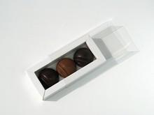 E3WHI Étui pour 3 chocolats blanc et transparent