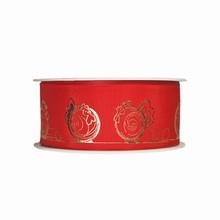 r923 Poule en croquis or métallique et rouge