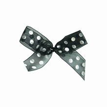 bow15 Silver Polkadots on Sheer Black Twist Tie Bows
