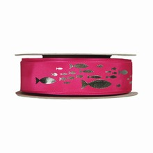 r451 Silver Fish on Pink Ribbon