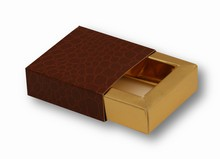 e19184g-10 Sleevebox for 1 chocolate Croco Chestnut and Gold