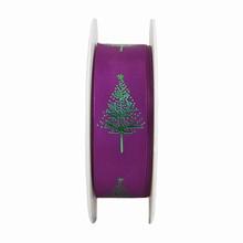 RN618 Sapin de Noël vert métallique et mauve