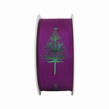 RN619 Metallic Green Christmas Trees on Purple