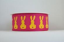 RP631 Neon Yellow Bunnies Ribbon (Large)