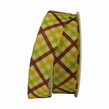 r744 Lime Green, Yellow and Brown Plaid Ribbon