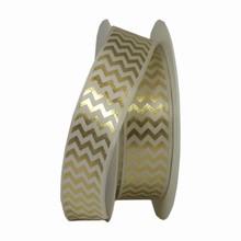 RN305 White and Gold Herringbone Twinkle Ribbon