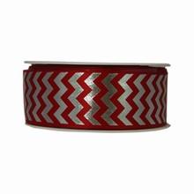 RN329 Red and Silver Herringbone Twinkle Ribbon