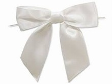 bow162 Boucles satin blanc