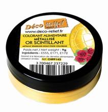 CHPP145 Colorant alimentaire doré en poudre or scintillant 9gr