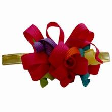 bow147 Gros grain multicolour pink bow