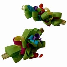 bow148 Multicolor grosgrain lime bow