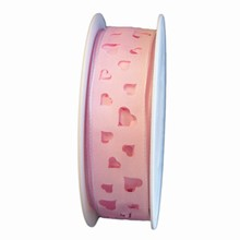 R1236 Light pink ribbon with hearts cuts
