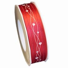 RV7 Valentine ribbon white hearts on red