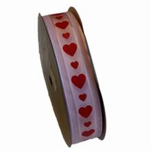 va51 Valentine ribbon red hearts on pink