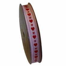 va50 Valentine ribbon red hearts on pink