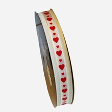 va48 Valentine ribbon red hearts on ivory