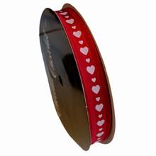va47 Valentine ribbon white hearts on red