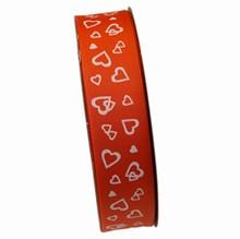 VA45 Orange ribbon with white hearts