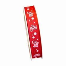 R1208, Ruban chocolat rose sur rouge,15mm