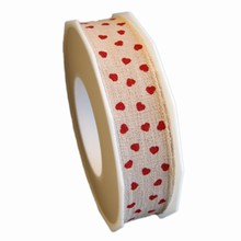 RV1,Linen ribbon with red hearts,25mm