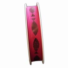 R1243,Pink ribbon, brown fish print (5/8in)