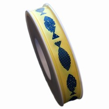 R1244, Blue Fish on yellow Ribbon (5/8in)