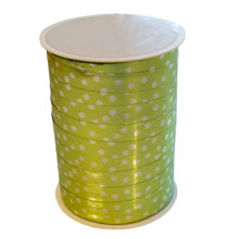 RB233m Bolduc Ribbon Floral Motif Metallic lime green