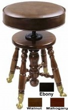 Jansen Upholstered-Top Piano Swivel Stool w/ Brass Claw Foot